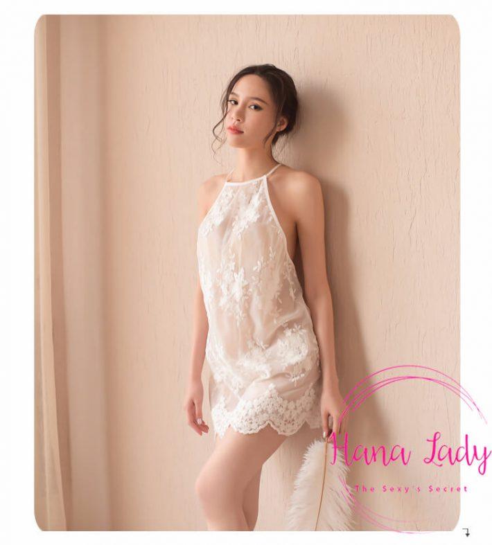 Váy ngủ yếm đính hoa tiểu thư VN128 5