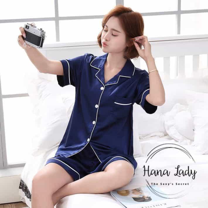 Bộ ngủ pijama lụa xanh PJ028