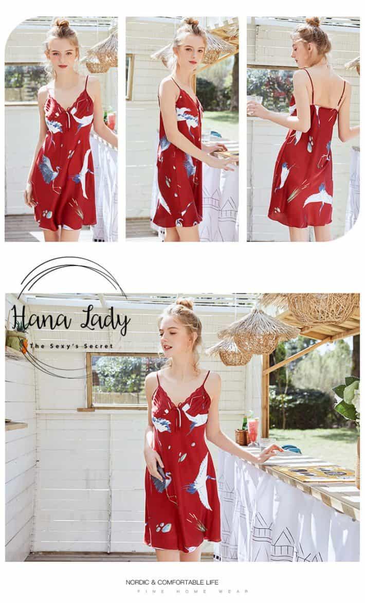 Váy ngủ lụa 2 dây chim Hạc cao cấp nhiều màu VN212 11