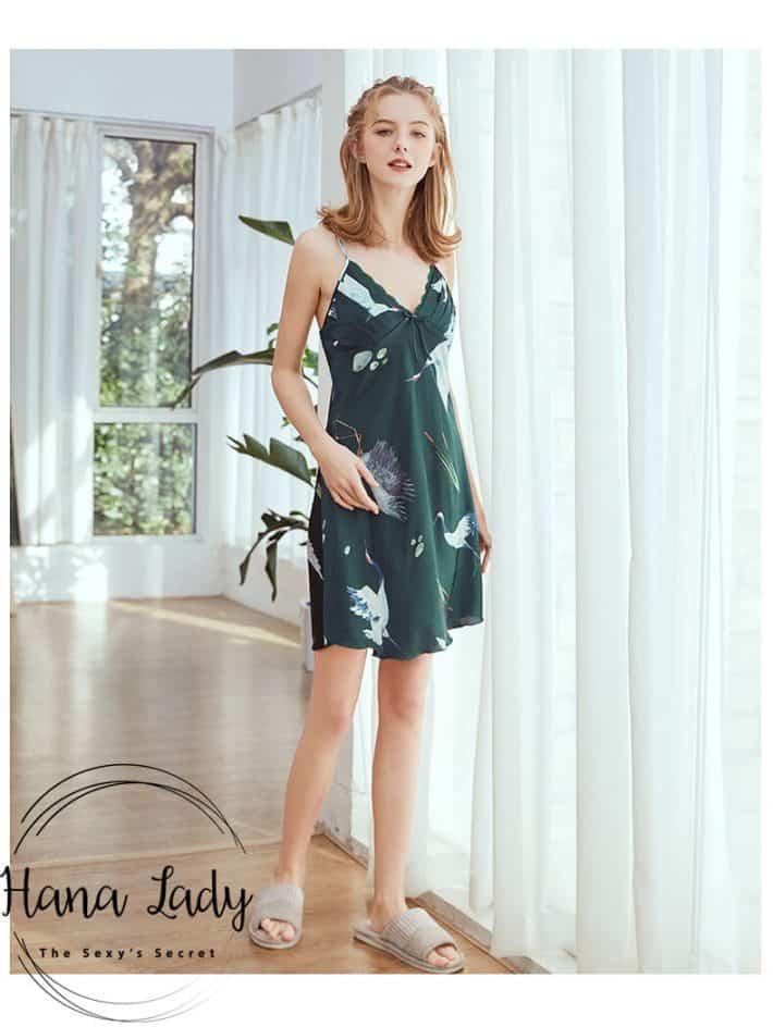 Váy ngủ lụa 2 dây chim Hạc cao cấp nhiều màu VN212 8