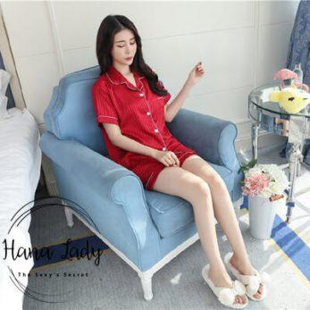 pijama lụa sọc đỏ