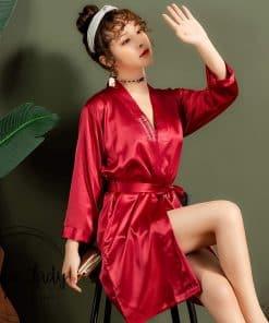 Váy choàng ngủ lụa pijama trơn cao cấp PJ208