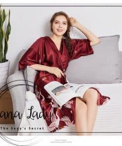Váy choàng ngủ pijama lụa cao cấp chân hạt VN210