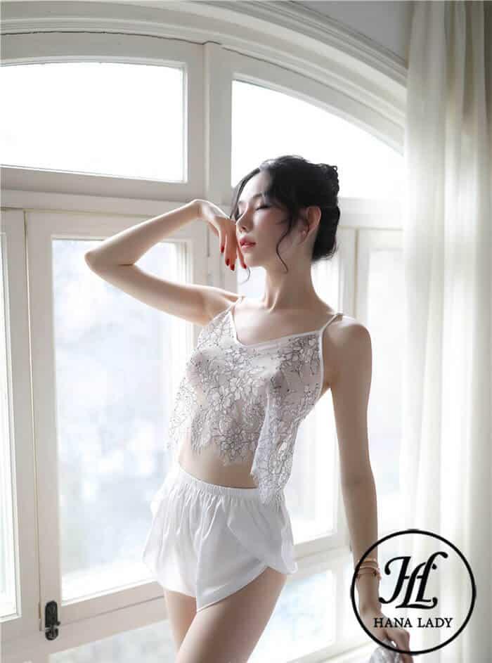 Bộ ngủ lụa áo ren xuyên thấu sexy VN258 11