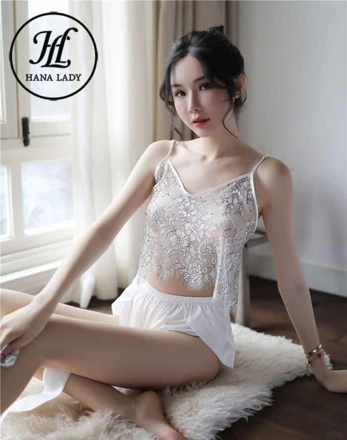 Bộ ngủ lụa áo ren xuyên thấu sexy VN258 5