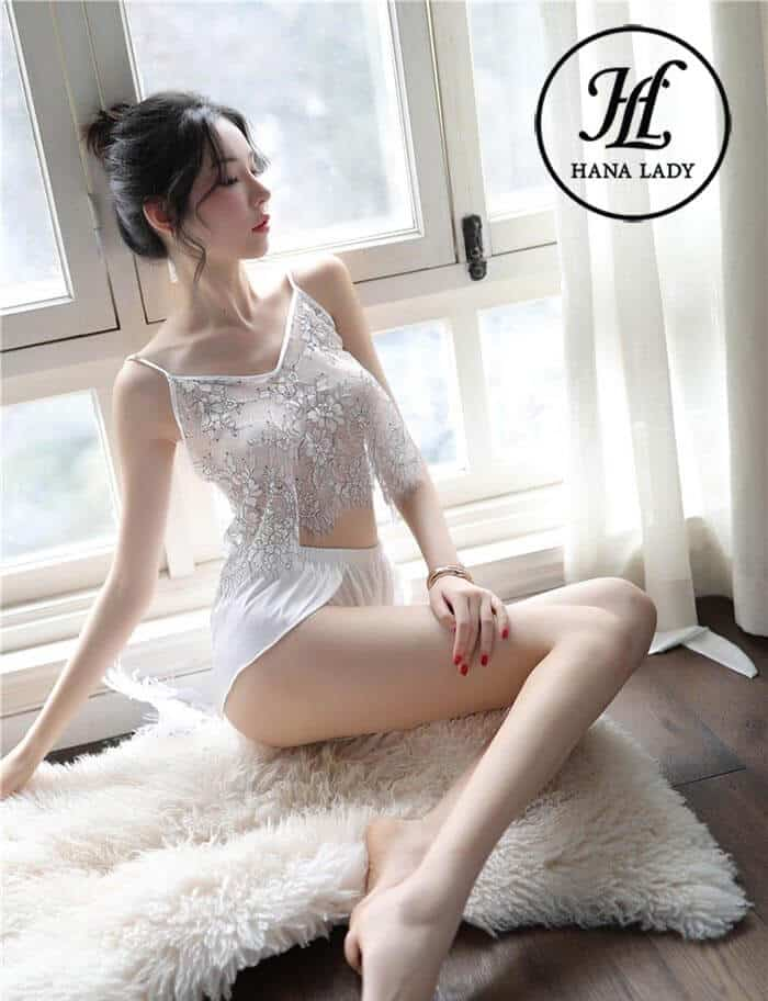 Bộ ngủ lụa áo ren xuyên thấu sexy VN258 4