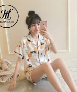 pijama lụa họa tiết quả thơm