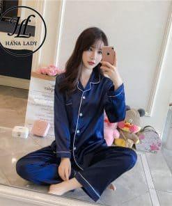 pijama lụa trơn dài