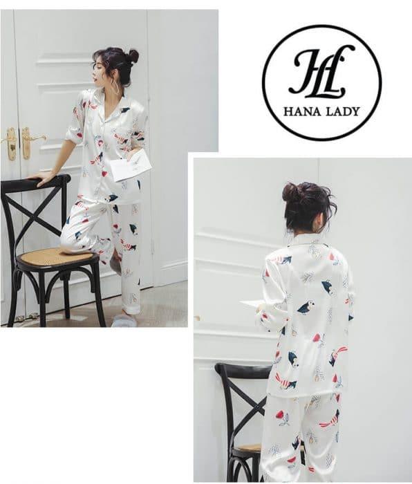 Pijama lụa tơ tằm họa tiết chim hoa lá cao cấp PJ145 9