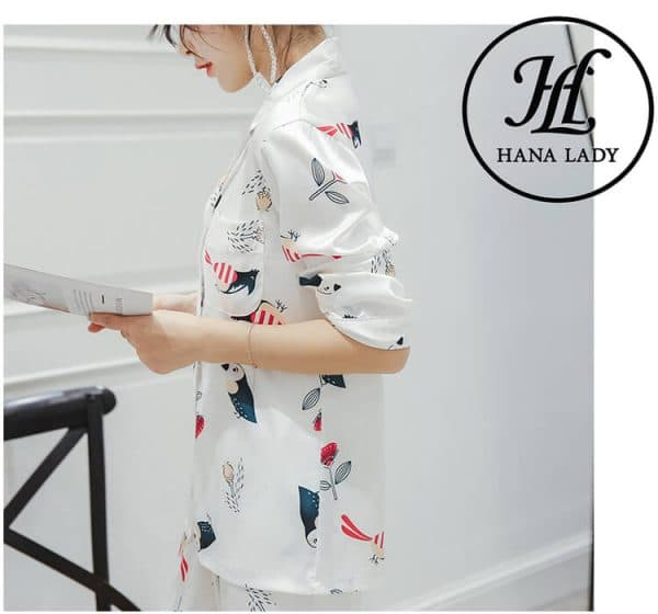 Pijama lụa tơ tằm họa tiết chim hoa lá cao cấp PJ145 8