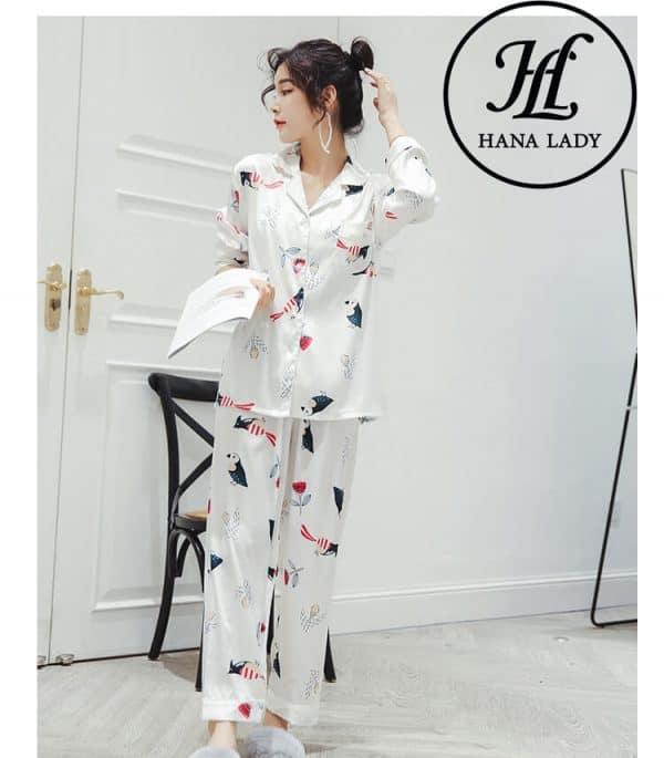 Pijama lụa tơ tằm họa tiết chim hoa lá cao cấp PJ145 2