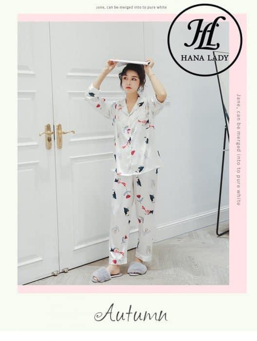 Pijama lụa tơ tằm họa tiết chim hoa lá cao cấp PJ145 7