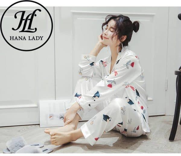 Pijama lụa tơ tằm họa tiết chim hoa lá cao cấp PJ145 5