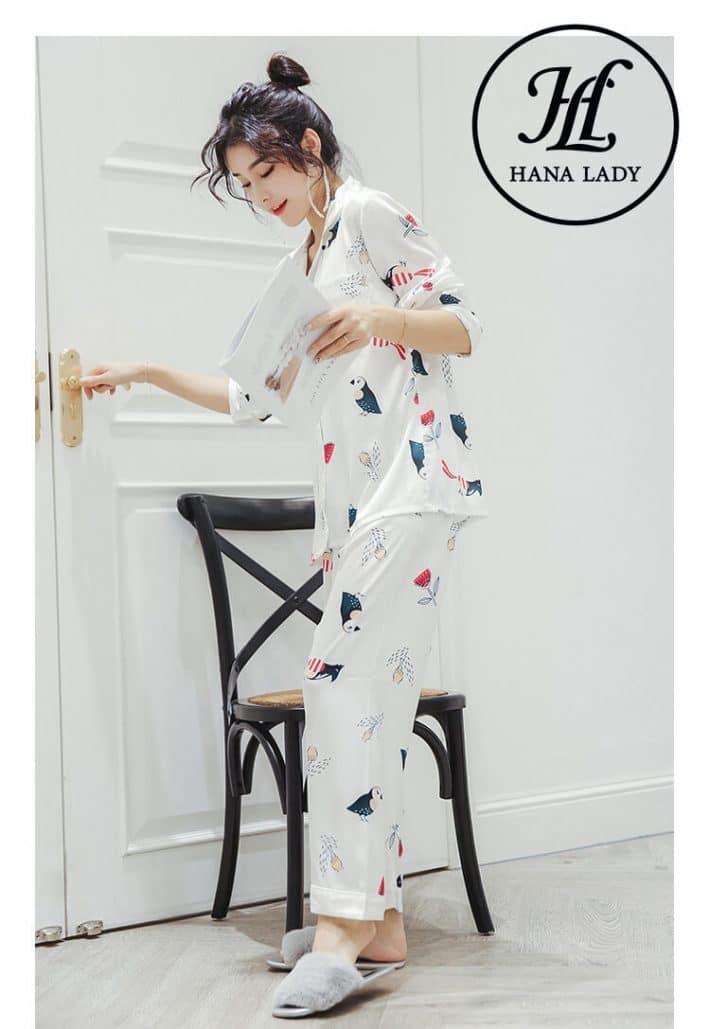 Pijama lụa tơ tằm họa tiết chim hoa lá cao cấp PJ145 3