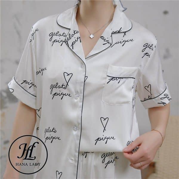 Pijama luạ tằm chữ cao cấp PJ175 7