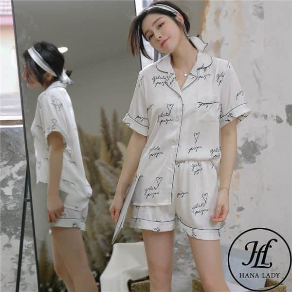 Pijama luạ tằm chữ cao cấp PJ175 6