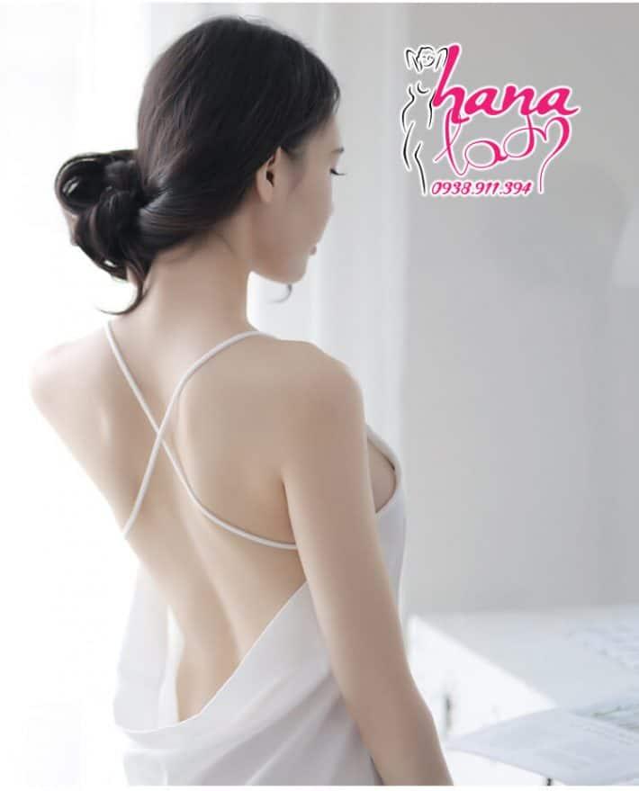 Đầm ngủ lụa cao cấp dây chéo lưng VN062 8
