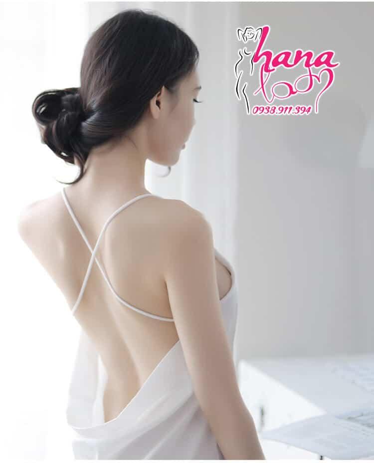 Đầm ngủ lụa cao cấp dây chéo lưng VN 062