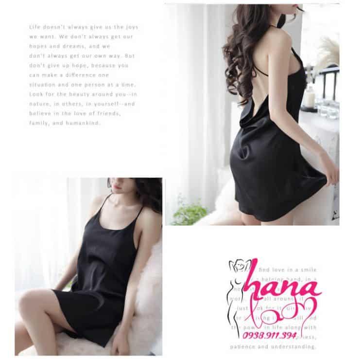Đầm ngủ lụa cao cấp dây chéo lưng VN062 6