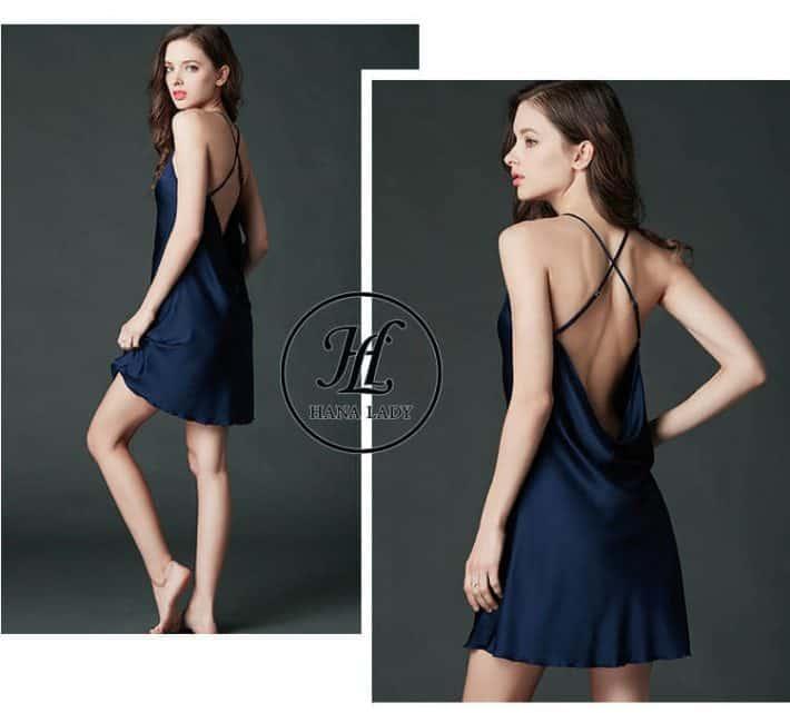 Đầm ngủ lụa cao cấp dây chéo lưng VN062 2