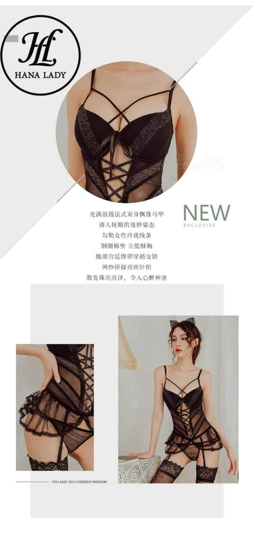 Bộ ngủ dây đan ngực kèm kẹp tất siêu sexy VN266 8