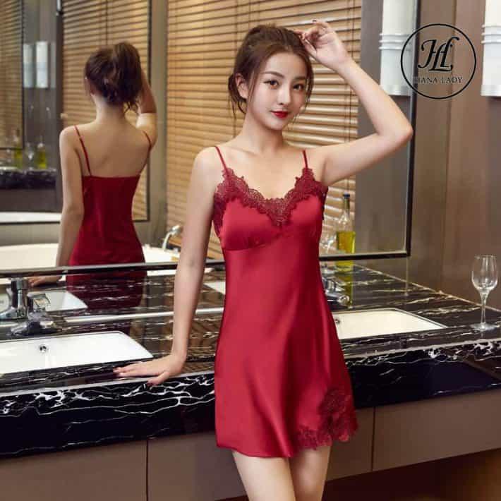 Váy ngủ lụa 2 dây phối ren cao cấp (mút ngực) VN276 1