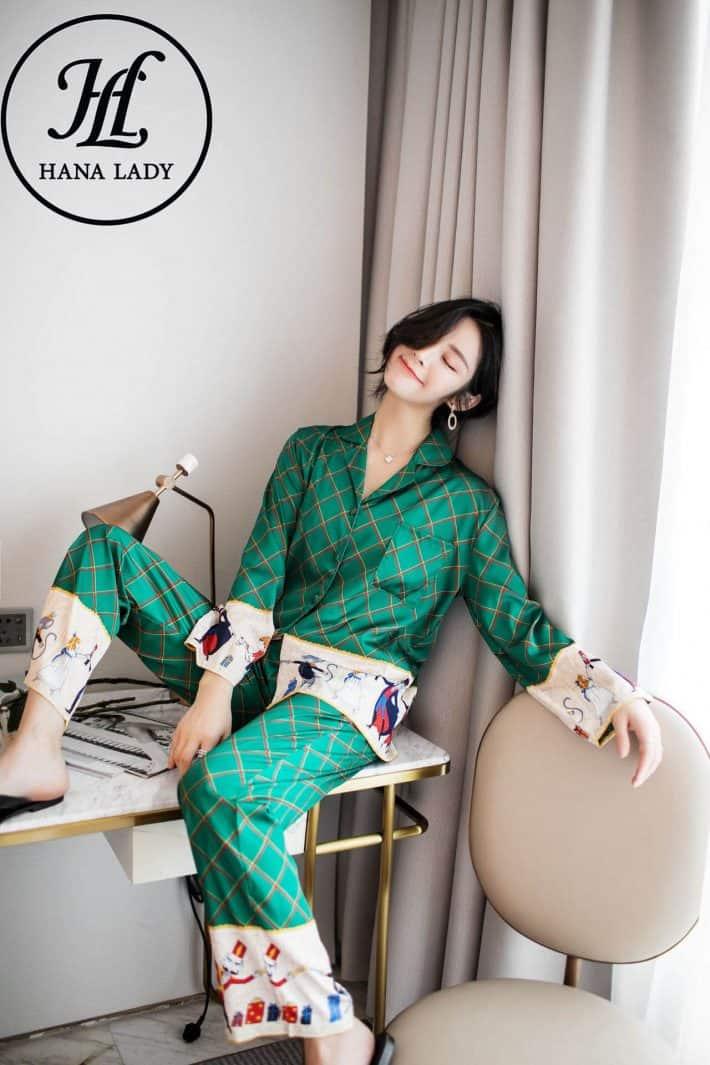 Pijama lụa forrm sang chảnh họa tiết cao cấp PJ169 7