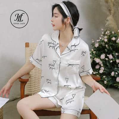 Pijama luạ tằm chữ cao cấp PJ175 3