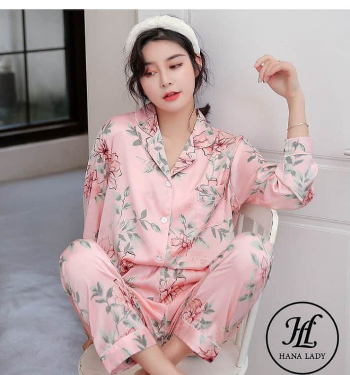 Bộ ngủ pijama lụa tơ tằm hoa cao cấp PJ164 2