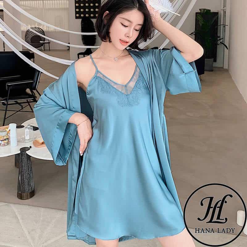 váy ngủ lụa kèm choàng phối ren cao cấp VN280