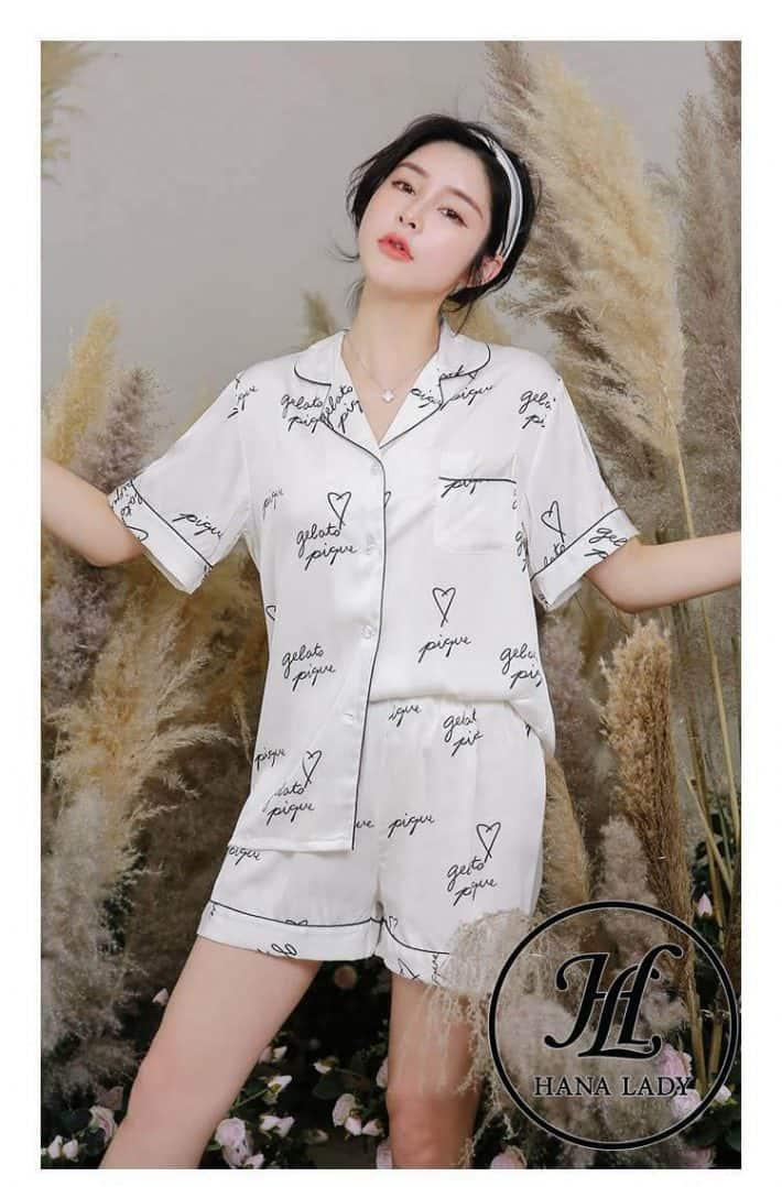 Pijama luạ tằm chữ cao cấp PJ175 5
