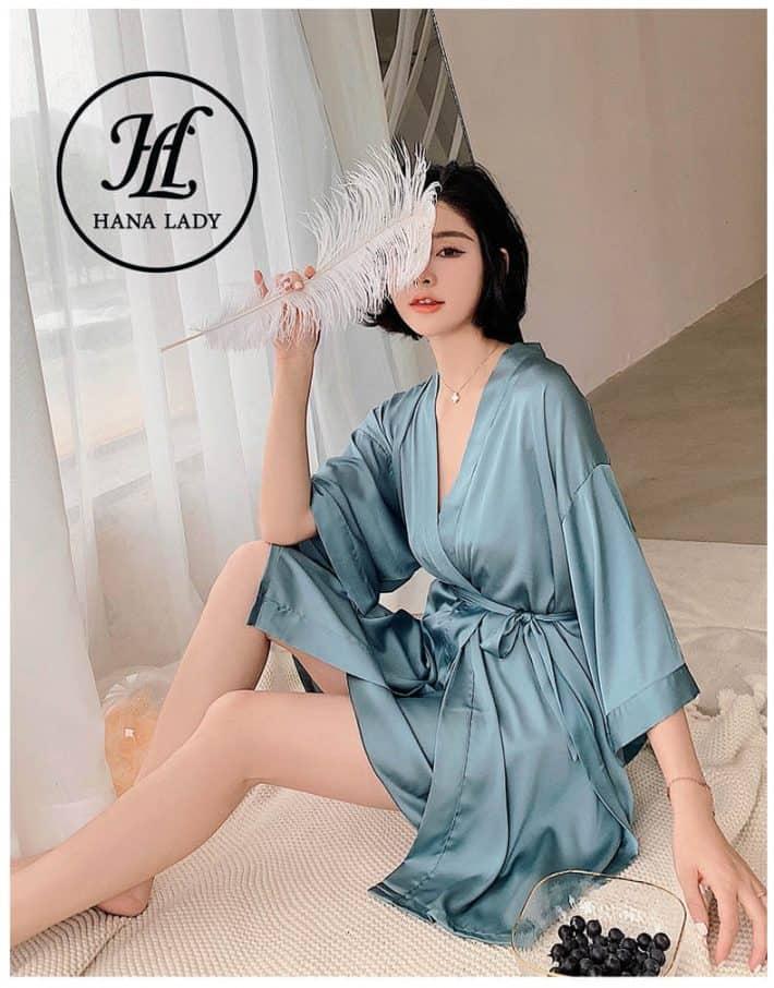 Váy ngủ lụa kèm choàng phối ren cao cấp VN280 4