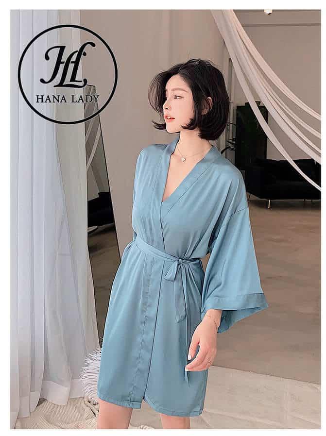 Váy ngủ lụa kèm choàng phối ren cao cấp VN280 3