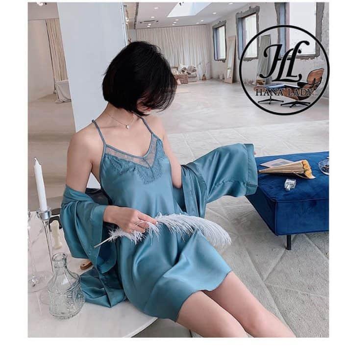 Váy ngủ lụa kèm choàng phối ren cao cấp VN280 2