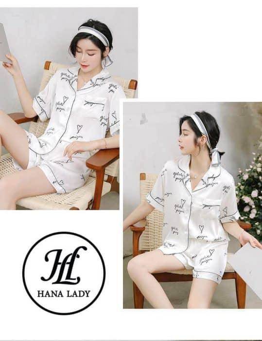 Pijama luạ tằm chữ cao cấp PJ175 4