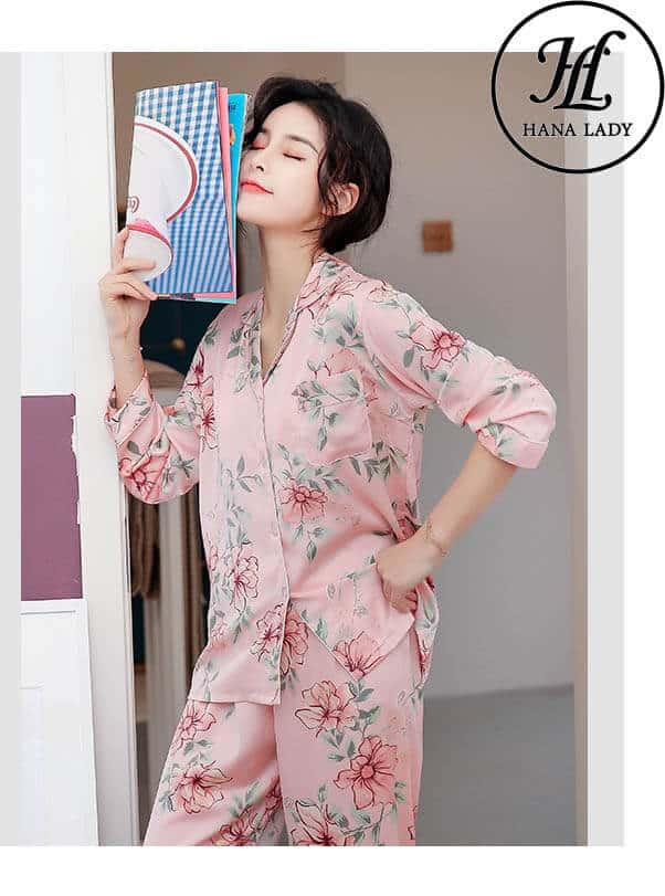 Bộ ngủ pijama lụa tơ tằm hoa cao cấp PJ164 3