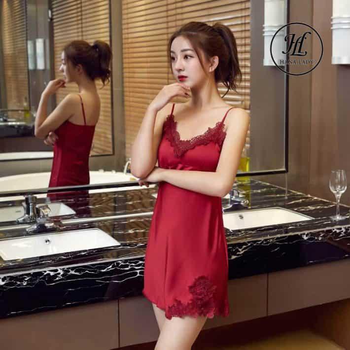 Váy ngủ lụa 2 dây phối ren cao cấp (mút ngực) VN276 2