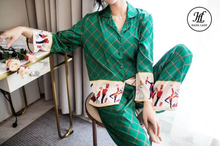 Pijama lụa forrm sang chảnh họa tiết cao cấp PJ169 4