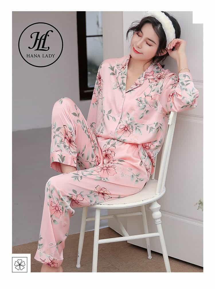 bộ ngủ pijama lụa tơ tằm hoa cao cấp PJ 164