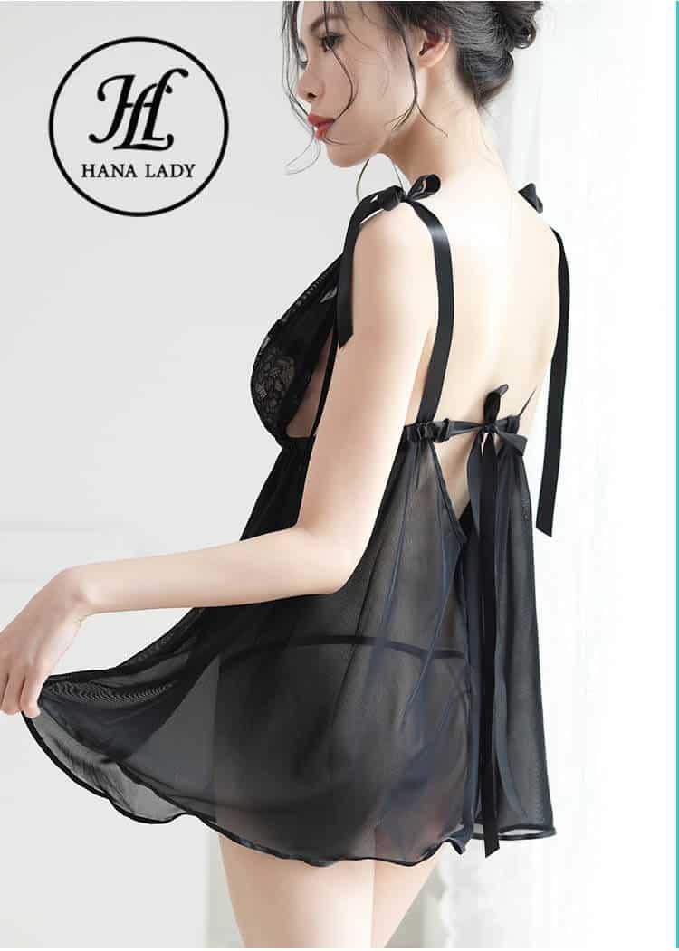 váy voan lụa xẻ ngực quyến rũ VN282