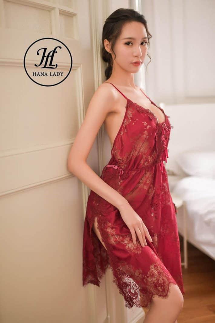 Váy ngủ ren hoa xẻ tà sexy VN277 4