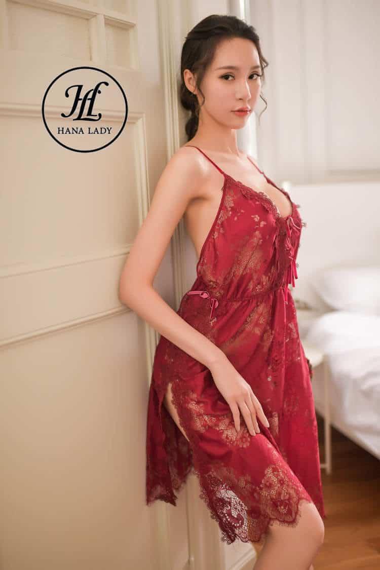 váy ngủ ren hoa xẻ tà sexy VN277