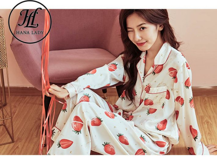 Đồ ngủ pijama lụa tằm họa tiết strawberry PJ180 3