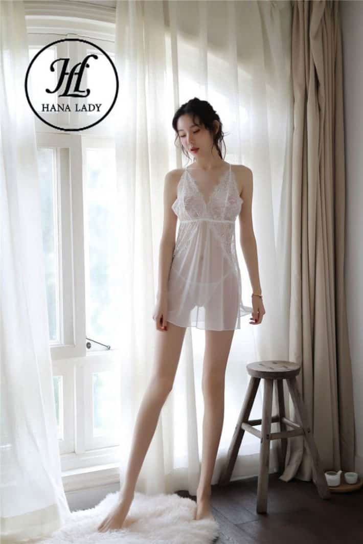 Váy ngủ ren voan xẻ tà mềm mịn VN278 3