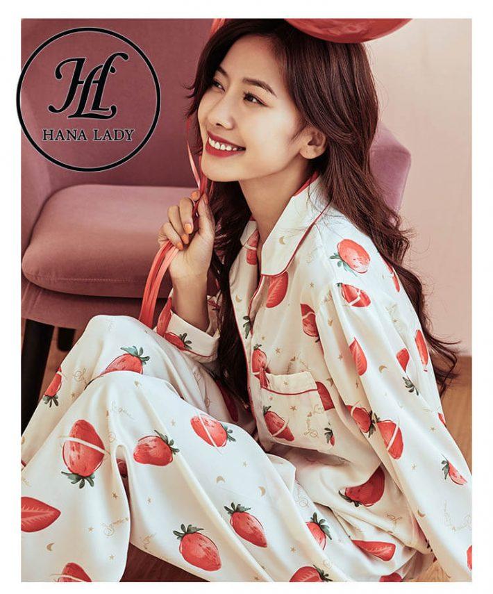 Đồ ngủ pijama lụa tằm họa tiết strawberry PJ180 2
