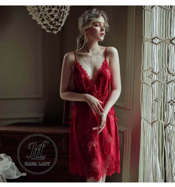 Váy ngủ ren hoa xẻ tà sexy VN277 3