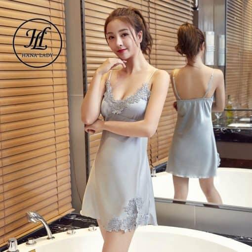 Váy ngủ lụa phối ren có mút ngực (có thể tháo rời) VN284 6