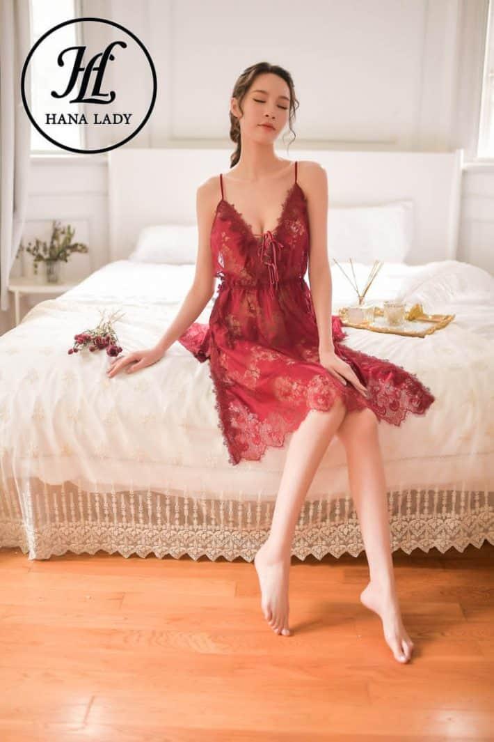 Váy ngủ ren hoa xẻ tà sexy VN277 1