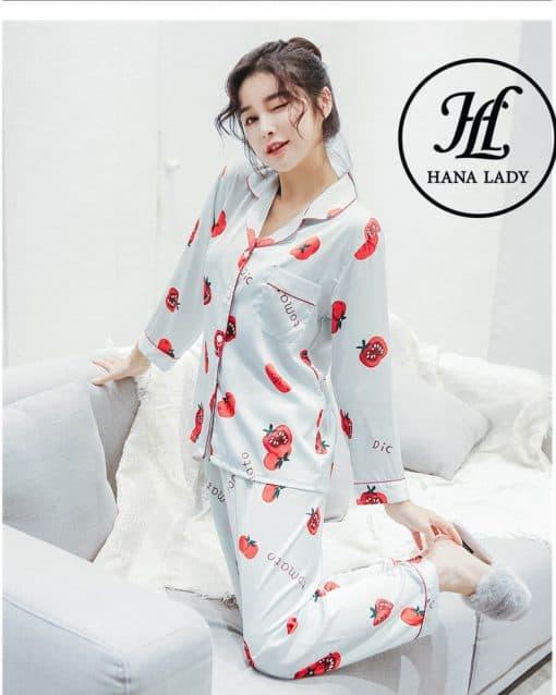 Pijama lụa tằm Tomato cao cấp PJ182 4