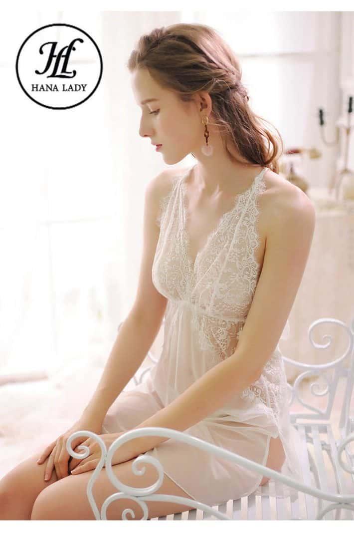 Váy ngủ ren voan xẻ tà mềm mịn VN278 4